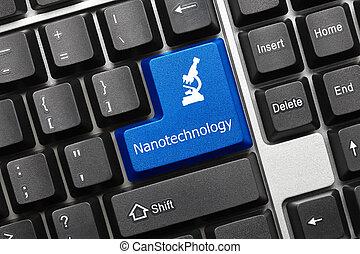 -, konceptualny, (blue, klawiatura, nanotechnology, key)
