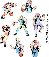 -, koszykówka, sport, maskotki