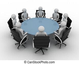 -, ludzie, okrągły, odizolowany, image., sesja, stół., za, 3d