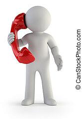 -, ludzie, rozmowa, mały, telefon, 3d