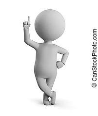 -, mały, palec wskazujący, do góry, człowiek, 3d
