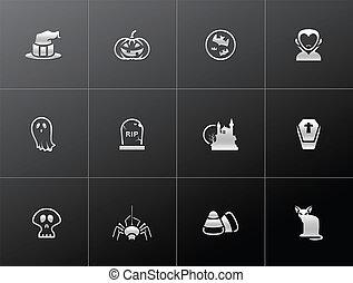 -, metaliczny, halloween, ikony