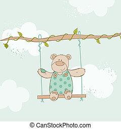-, niedźwiedź, przelotny deszcz, wektor, niemowlę, karta