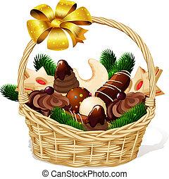 -, odizolowany, ilustracja, wektor, cookie, tło, kosz, białe boże narodzenie