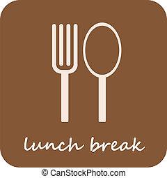 -, odizolowany, złamanie, lunch, wektor, ikona