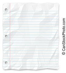 -, pisanie, papier, dziurkowany, student, three-hole, liniowany