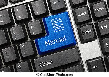 -, podręcznik, key), klawiatura, konceptualny, (blue