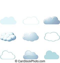 -, pogoda, chmury, ikony