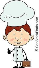 -, pokaz, kciuk do góry, litera, mistrz kucharski, kuchnia