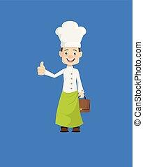 -, pokaz, kciuk do góry, mistrz kucharski