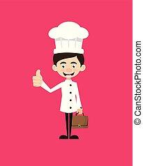 -, pokaz, rysunek, kciuk do góry, mistrz kucharski