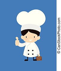 -, pokaz, rysunek, kciuk, sprytny, do góry, mistrz kucharski