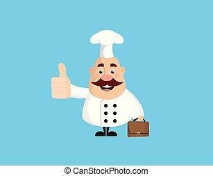 -, pokaz, tłuszcz, zabawny, kciuk do góry, mistrz kucharski