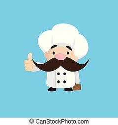 -, pokaz, zabawny, kciuk, krótki, do góry, mistrz kucharski