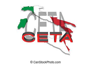 -, porozumienie, włochy, ekonomiczny, comprehensive, ceta, handel, mapa