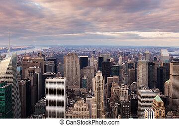 -, prospekt, miasto, york, nowy, zachód słońca, antena, manhattan skyline