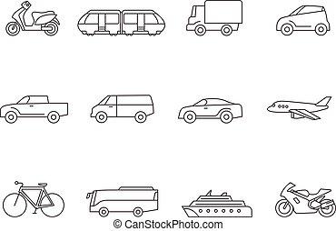 -, przewóz, szkic, ikony