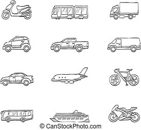 -, rys, przewóz, ikony