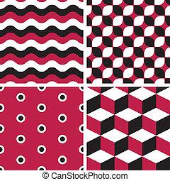 -, seamless, wzory, wektor, geometryczny, dekarstwo