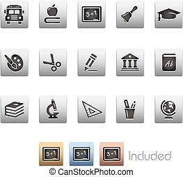 --, seria, wykształcenie, metalbox, ikony
