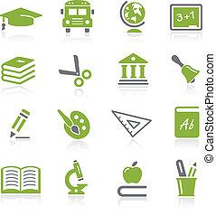 --, seria, wykształcenie, natura, ikony