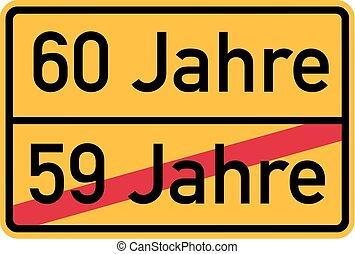 -, urodziny, niemiec, 60th, roadsign