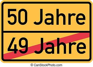-, urodziny, niemiec, roadsign, 50th