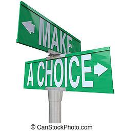 -, ustalać, dwukierunkowy, alternatywy, wybór, ulica, między, 2, znak
