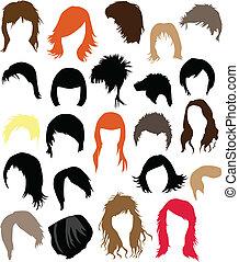 -, włosy, strój