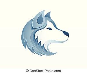 -, wektor, plewiasty, logo, na wolnym powietrzu, sledding, pies, zima, safari, ilustracja, syberyjski, głowa