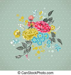 -, wektor, tło, kwiatowy, album na wycinki, projektować