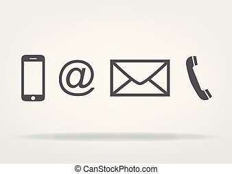 -, wektor, telefon, symbolika, ikona, poczta, kontakt, płaski