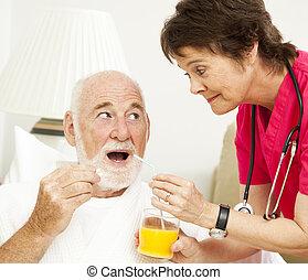 -, zdrowie, biorąc medycynę, dom, pielęgnować