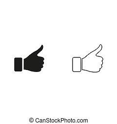 -, zielony, gest, kciuk, wektor, do góry, ikona