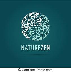 -, ziołowy, wektor, medycyna, rozmyślanie, yang, logo, zen, yin, ikona, chińczyk, pojęcie, alternatywa, wellness