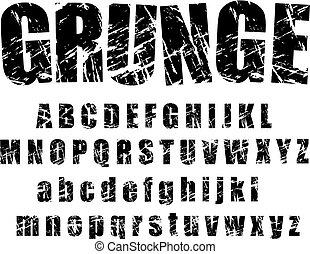 1, alfabet, -, grunge