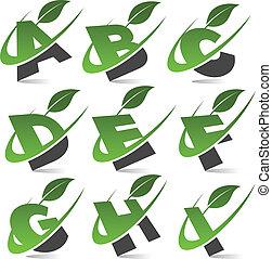 1, alfabet, komplet, zielony, swoosh