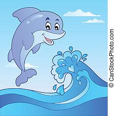1, delfin, rysunek, skokowy, machać