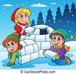 1, dzieciaki, zima scena