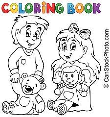 1, kolorowanie, dzieci, książka, zabawki