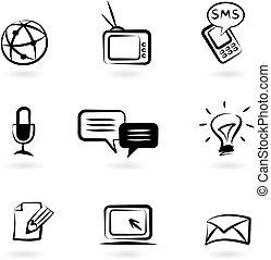 1, komunikacja, ikony