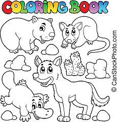 1, książka, australijski, kolorowanie, fauna