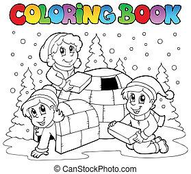 1, książka, kolorowanie, scena, zima