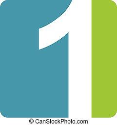 1, logo, nowoczesny, liczba