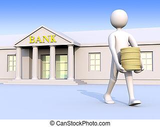 1, pieniądze, &, bank, człowiek