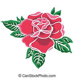 1, róża, czerwony