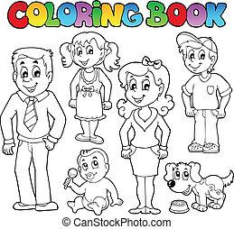 1, rodzina, koloryt książka, zbiór