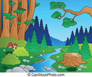 1, rysunek, krajobraz, las