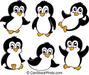 1, sprytny, pingwiny, zbiór