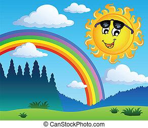 1, tęcza, krajobraz, słońce